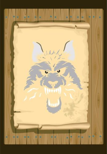 Stencil 350 micron Mylar not thin stuff #Wolf03 Wolf Face