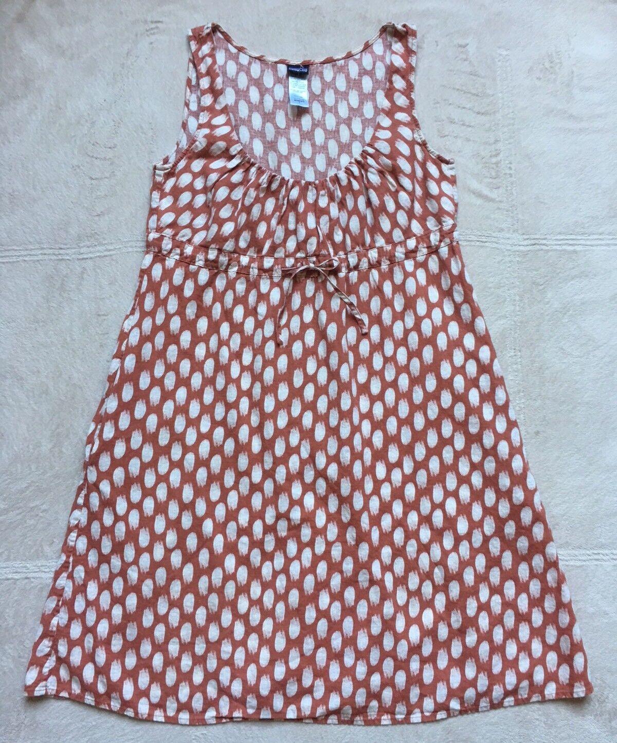 Patagonia Women's Tank Dress, Size Small, Ivory & Brown Polka-Dots, Waist Tie