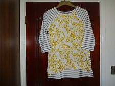 JOULES POLLY  LONG SLEEVE TOP YELLOW FERN STRIPE TOP SIZE UK 12