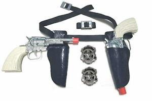 Kids Cowboy Western Sheriff & Deputy Holster Set, Die-Cast Metal Cap Gun Pistols
