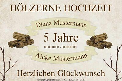 Schild Geschenk Hölzerne Hochzeit 5 Jahre Individuell Mit Namen Datum A4 Ebay