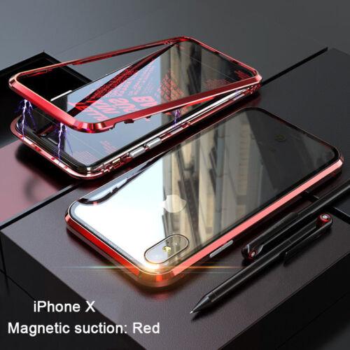 Para iPhone XS Max XR caso de Lujo Magnético Marco de Metal Cubierta posterior de vidrio templado