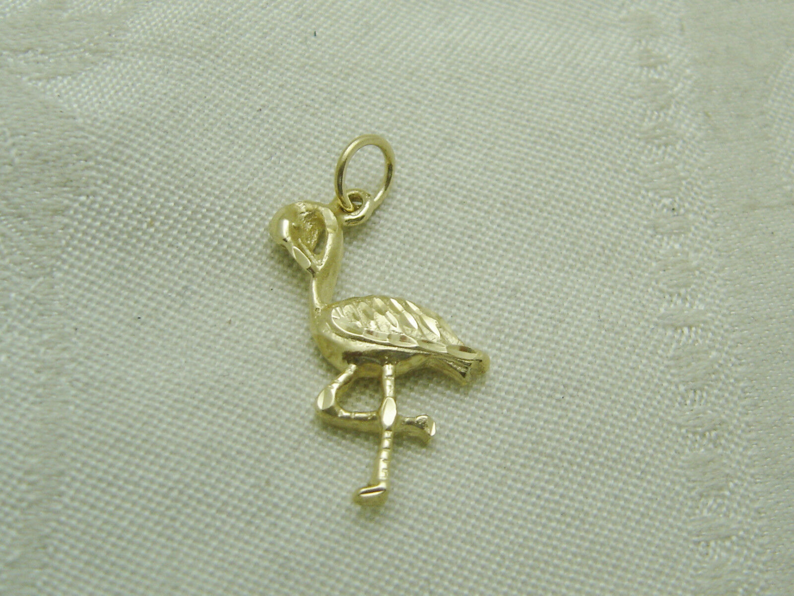 14K YELLOW gold DIAMOND CUT FLAMINGO PENDANT N139-L1