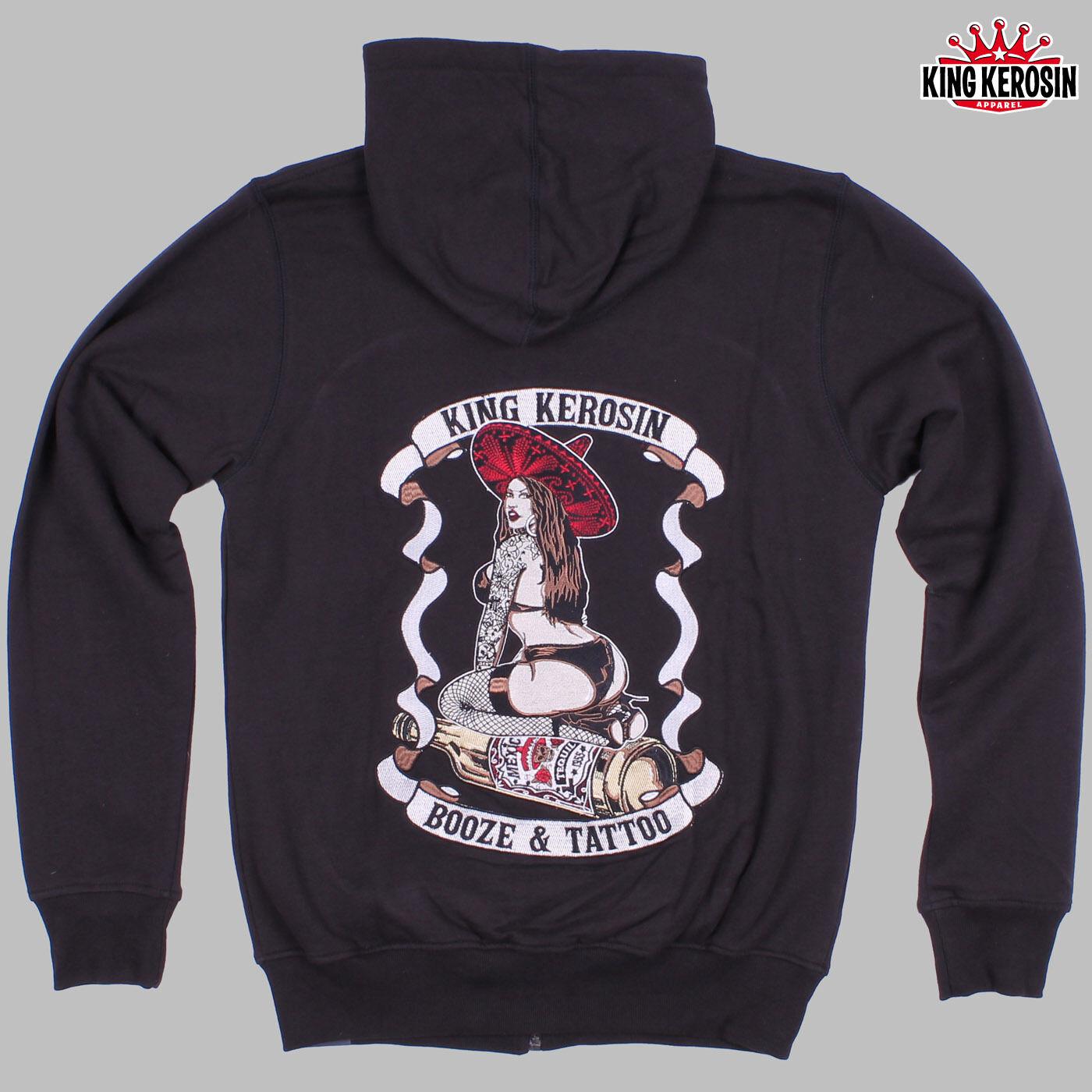 King Kerosin Zip Hoodie  Booze and Tattoo  - Rockabilly Biker Street Wear NEU