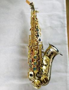 customized curved soprano saxophone rose brass sax satin nicke finish bell new ebay. Black Bedroom Furniture Sets. Home Design Ideas