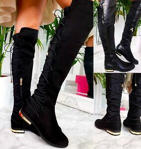 knee high lace up work boots