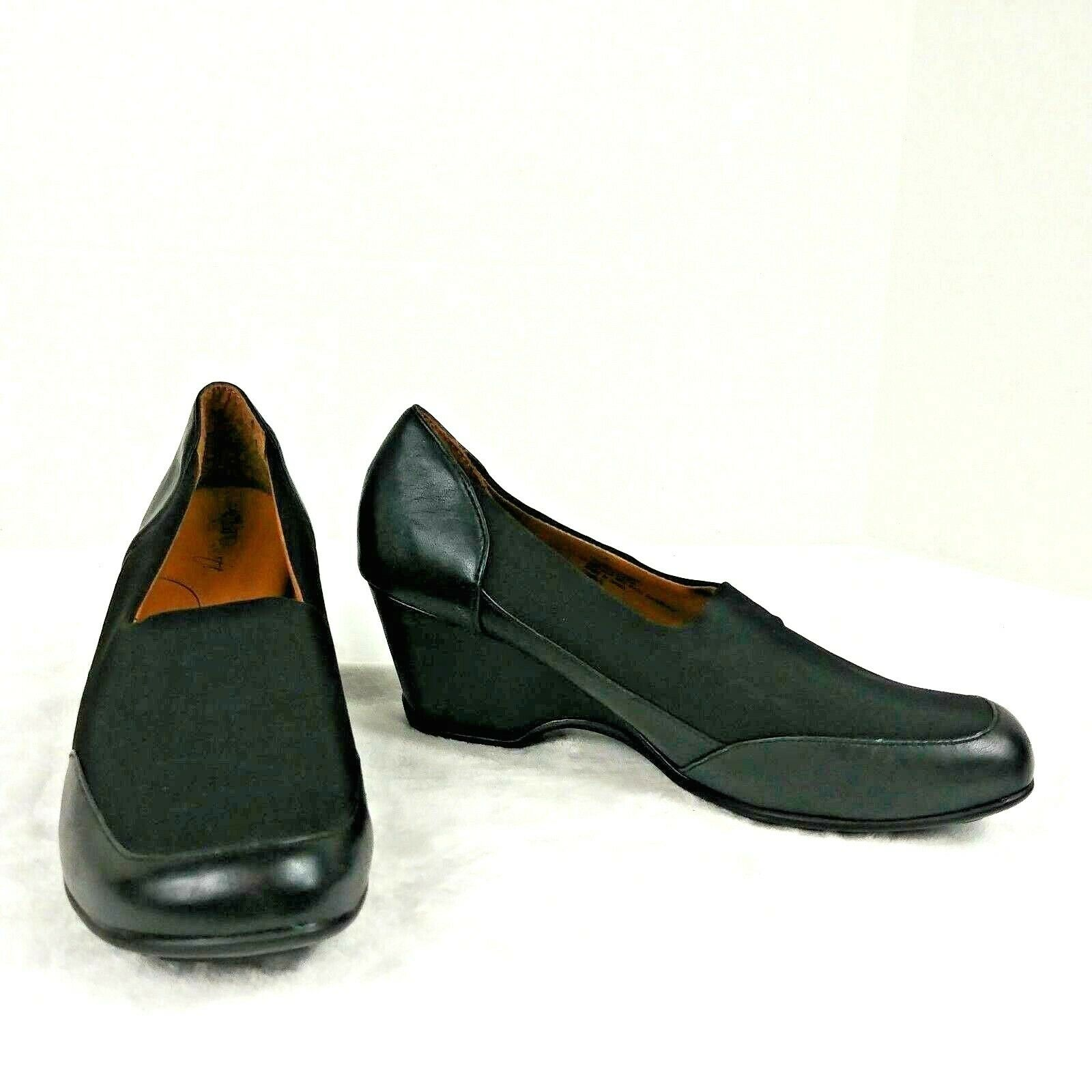 Euro Soft by Sofft shoe wedge Women nadalee black leather stretch comfort Sz 8 M