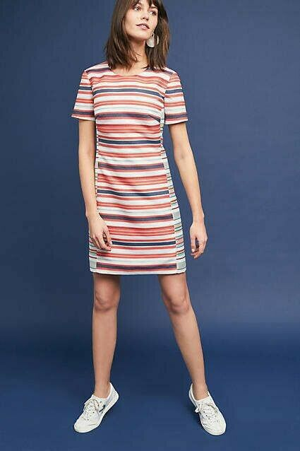 New ANTHROPOLOGIE Brixton Striped Dress  SMALL Orange Motif