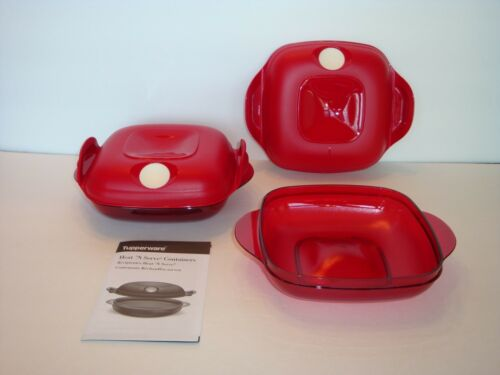 Tupperware Heat N Serve Microwave Safe Containers Set of Two x 2 Cups Red New
