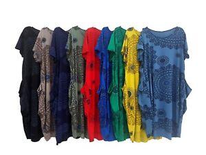 Plus-Size-Dress-Midi-Beach-Holiday-Summer-Aztec-Short-Sleeve-Lagenlook-Wolfairy