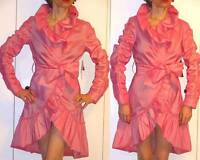 Steal Unique $325 Samuel Dong Pink Ruffle Dress Coat Stretch Long Sleeve Belt S