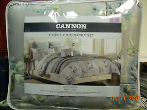 King Size Comforter Set 7 Piece Grey White Blue Floral