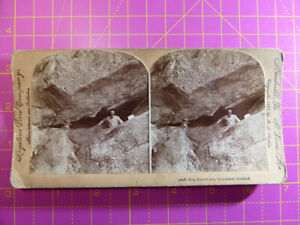 Antique Stereoscope Photograph: Rob Roy's Cave, Inversnail, Scotland Stereoview