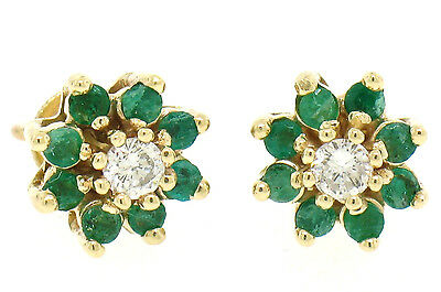 Estate 14k Yellow Gold 1.1ctw Round Diamond & Emerald Halo Cluster Stud Earrings