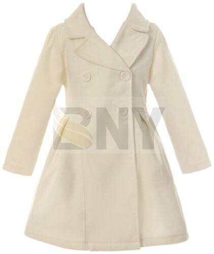 Girls Ivory Dress Coat Long Sleeve Button Long Winter Coat Outerwear 4-16