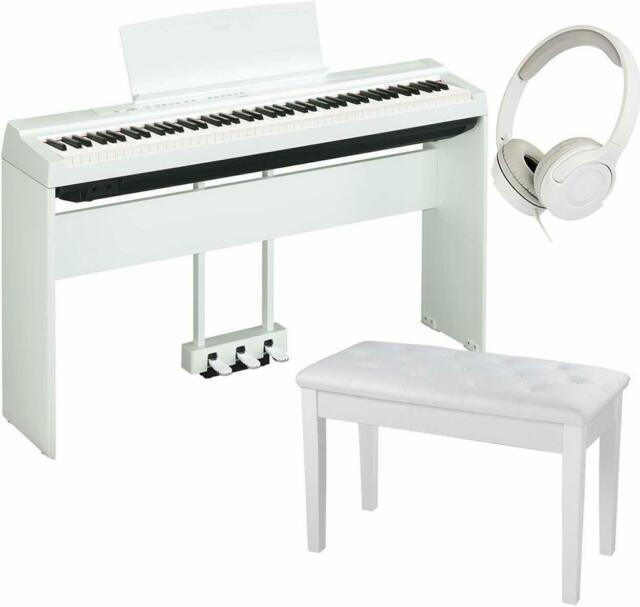 Yamaha P 125 White Digital Piano With Pedal Unit Padded Bench Headphones