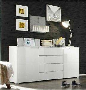 Pride-White-High-Gloss-Drawer-Sideboard-Cupboard-Buffet-Chest-of-Drawers