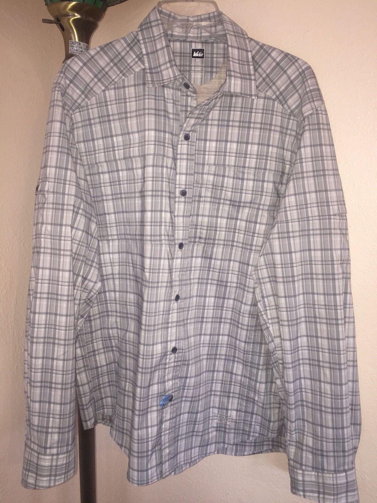 Men's  REI Co-Op Sahara Tech Plaid L S Vented Fishing Hiking Travel Shirt Sz Med  low-key luxury connotation