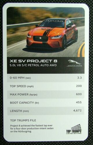 1 x Top Trumps card car Jaguar XE SV Project 8 5.0L V8 S//C Petrol Auto Awd J15