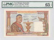 1957 Lao, Banque Nationale Du Laos, 100 Kip, PMG 65 EPQ GEM UNC,  P#: 6a