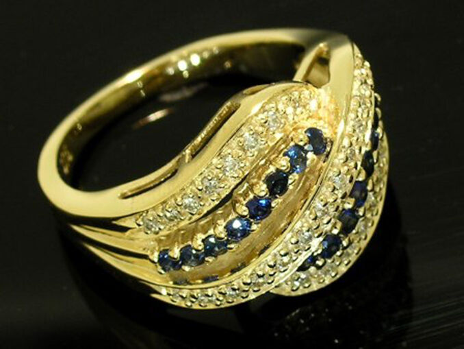 978592e6eb947 & Sapphire NATURAL gold Solid 9ct R110- Diamond REAL N size Ring ...
