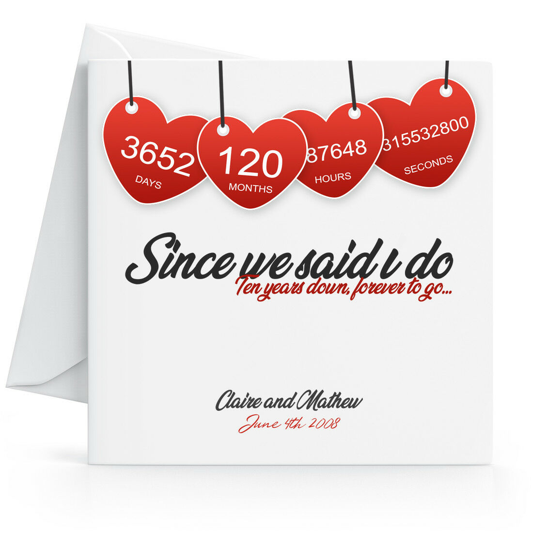 Personalised 10th Wedding Anniversary Card with Printed Red Hearts Tenth