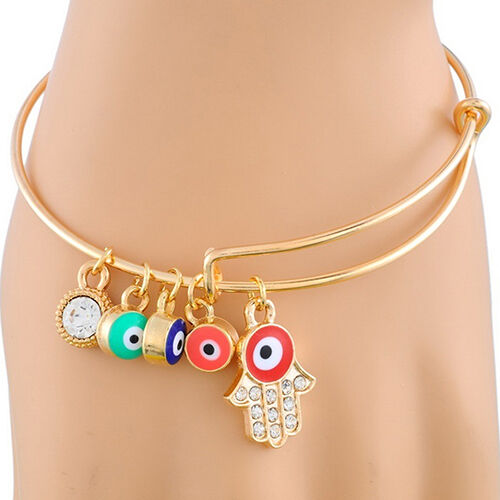 JN_ Women Golden Tone Enamel Evil Eye Hamsa Hand Fatima Drop Bangle Bracelet H