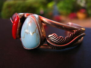 Southwestern-NATIVE-AMERICAN-Sterling-Silver-Turquoise-Coral-Bracelet-Leaves-925