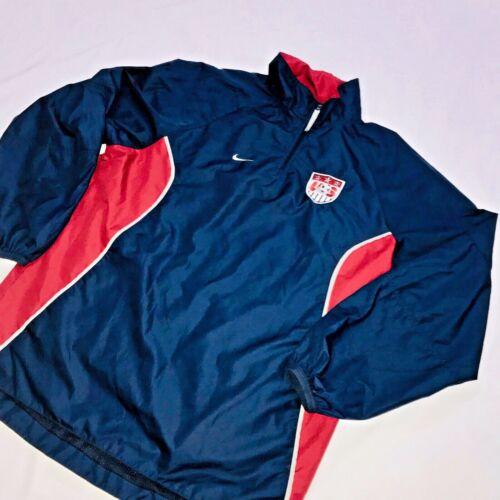 Rojo Nike Vintage Raro Azul Soccer o Chaqueta Nylon Glanz Peque Windbreaker Us zqOOxn7