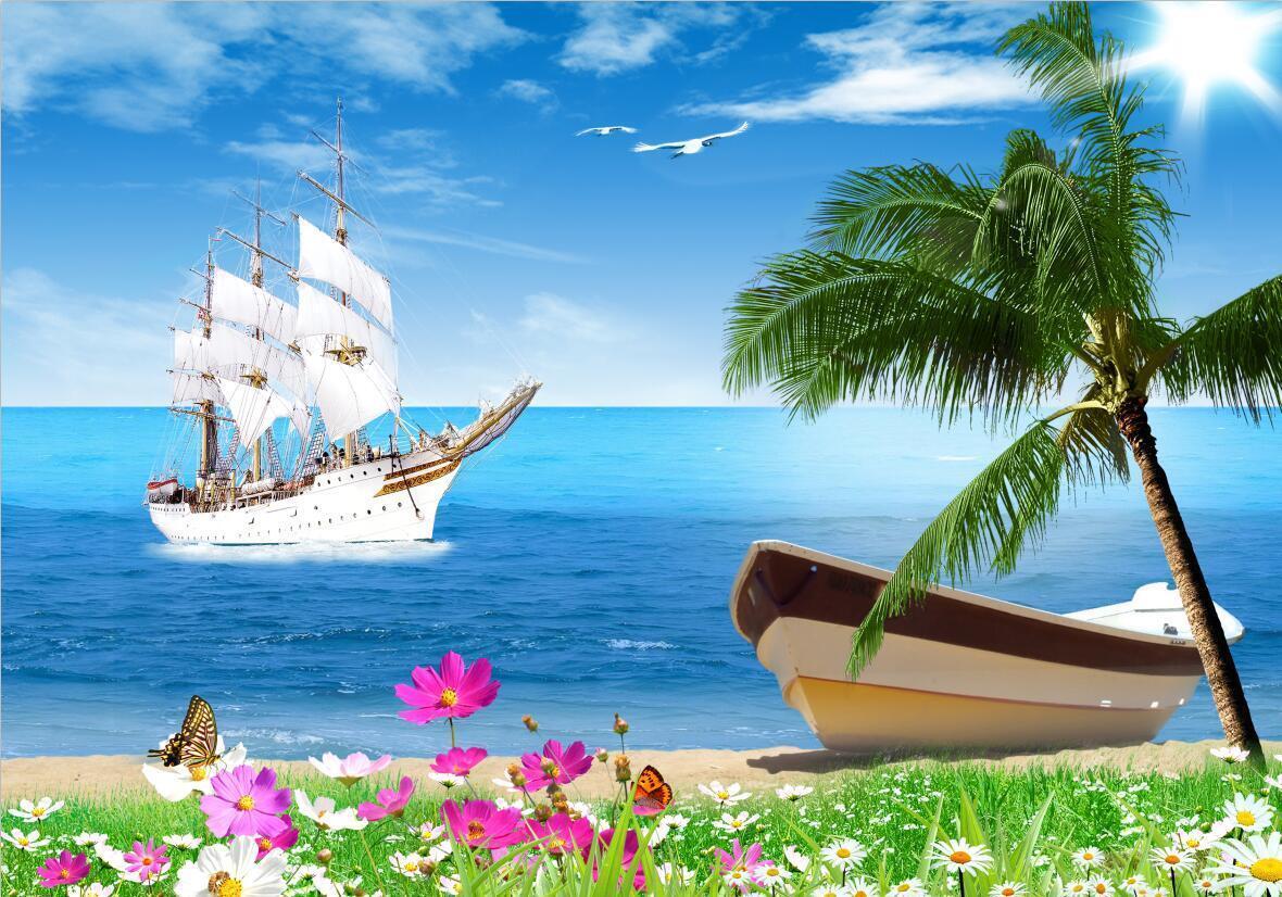 3D 3D 3D Strand Segeln Natürlich 8990 Tapete Wandgemälde Tapeten Bild Familie DE Kyra  | Verschiedene Arten Und Die Styles  | Neueste Technologie  | eine breite Palette von Produkten  f5e7a6