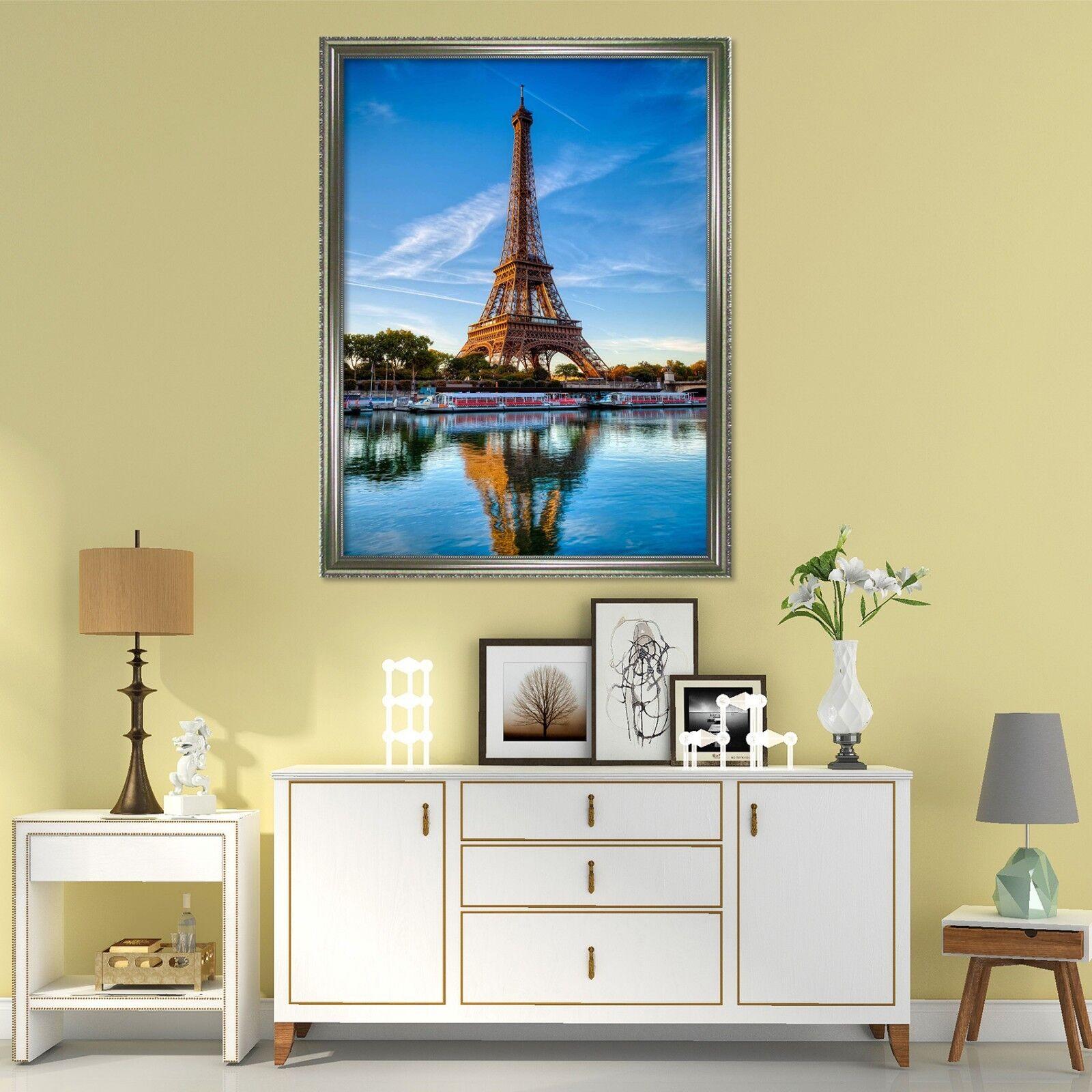 3D Torre Eiffel reflexión 51 Enmarcado cartel impresión de Decoración del Hogar Pintura arte AJ
