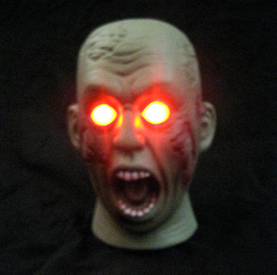 Shaking Zombie Head Lighted Eyes Haunted House Halloween Party Prop 7""