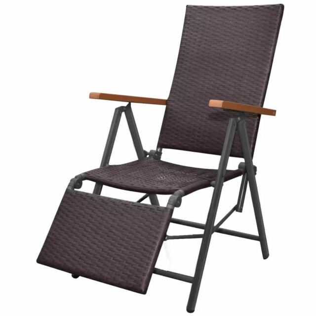 Fabulous Vidaxl Reclining Deck Chair Poly Rattan Brown 55X68X107Cm Outdoor Sunlounger Dailytribune Chair Design For Home Dailytribuneorg