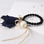 UK Seller Bow /& Satin Tassel Hair Tie // Band Many Colours NEW Beautiful Pearl