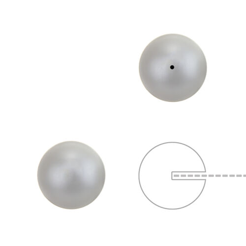 10mm Swarovski Half Drilled Pearl Beads Round Pastel Grey Pack of 2 K54//3