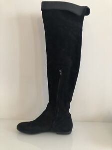 c86cdbdda799b Giuseppe Zanotti Over The Knee Boots Suede With Leather Cuff   eBay