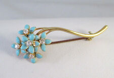 ANTIQUE Vtg 14K YELLOW GOLD FORGET ME NOT ENAMEL DIAMOND FLOWER PIN