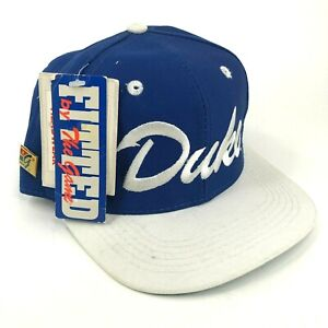 Vintage-Nwt-Duque-Universidad-Azul-Diablo-The-Game-6-7-8-Gorra-Ajustada-Plata