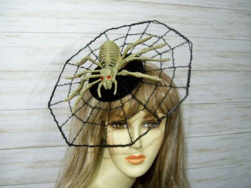 Steampunk Clothing, Fashion, Costumes   Skeleton Spider Web Halloween Fascinator Hat Spider Fascinator Creepy Headpiece $25.00 AT vintagedancer.com
