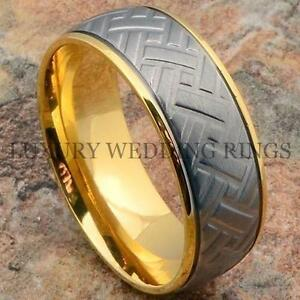 Men S Titanium Ring 14k Gold Wedding Band Car Tire Design Size 6 13