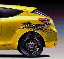 Un par de coche Lobo Puerta Lateral Cuerpo Adhesivo Calcomanía tiras de gráficos para Audi BMW ( Negro )