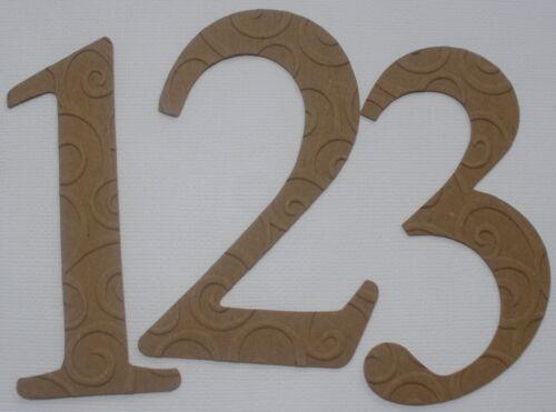 """Elegant Chipboard Die Cuts 1-12 4/"""" Embossed Numbers"""