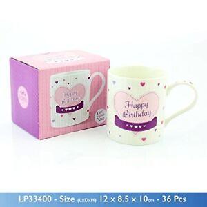 """joyeux Anniversaire"" Fine China Mug With Pink Love Heart Illustration And Matching-afficher Le Titre D'origine"