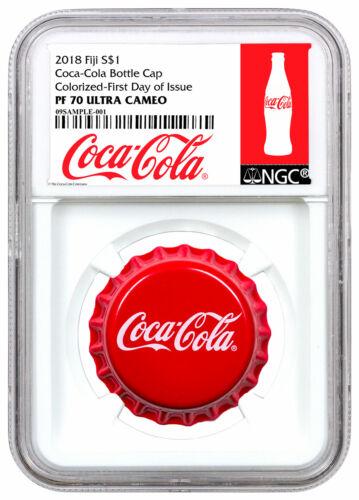 2018 Fiji Coca-Cola Bottle Cap-Shaped 6g Silver $1 NGC PF70 UC FDI Excl SKU54448