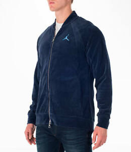 bb9d76d4ea1337 New Men s Air Jordan Velour Full-Zip Jacket (AH2357-410) Midnight ...