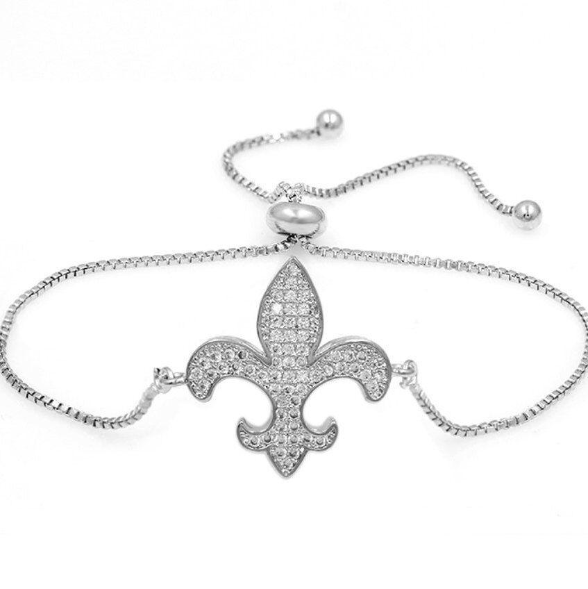 0.23CT Fleur-De-Lis Women's Adjustable Bolo Bracelet in 10K White gold Over