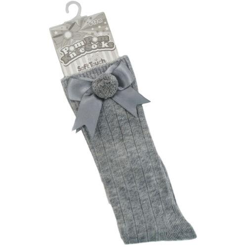 Boys Ribbed Knee Socks Spanish Romany Pom Pom /& Bow by Soft Touch Baby Girls