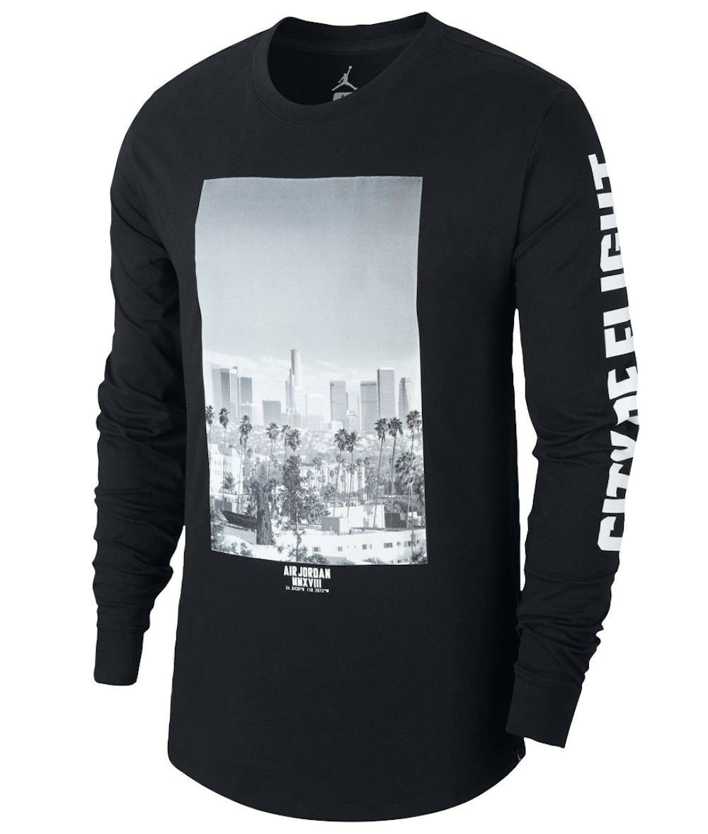 Jordan City Of Flight Langärmeliges Top Sz 2XL XXL Schwarz Weiß Los Angeles