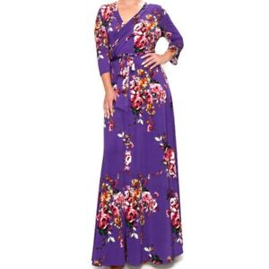 3//4 Sleeve Plus Size Jersey Maxi Dress in XL to 3X-Purple and Black