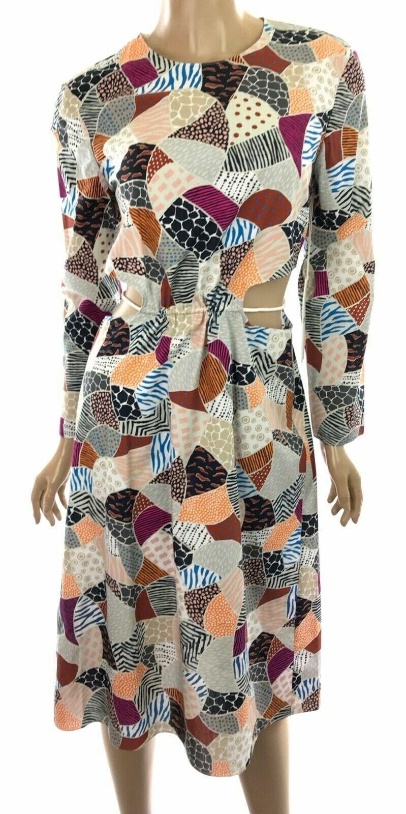 Edun New Dress Ecru Multi-Farbe Broken Tile Poplin Cotton Cut Outs at Waist